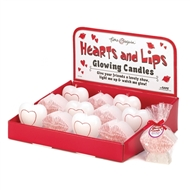12PK Hearts & Lips Glow Candles in PDQ Display