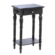 Colonial Black Carved 1-Drawer Side Table