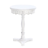 White Wood Flourish Pedestal Table