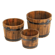 Rustic Apple Barrel Wood Planters Set of 3