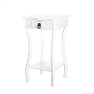 White Wood Scallop 1-Drawer Accent Table