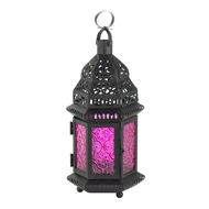 Dark Pink Glass Black Metal Moroccan Candle Lantern