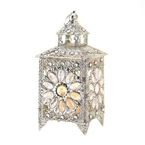 Crown Jewels Silver-tone Candle Lantern