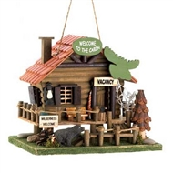 North Woods Brown Cabin Birdhouse