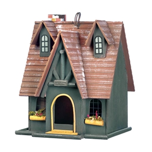 Storybook Cottage Green Wood Birdhouse