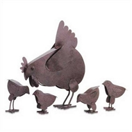 Mother Hen & Chicks Rustic Metal Sculptures Set of 5