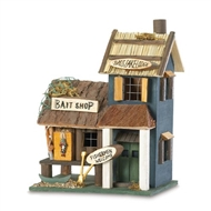 Bass Lake Lodge Bait Shop Wood Birdhouse