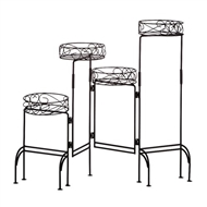 Foldable Black Four Tier Plant Stand Screen