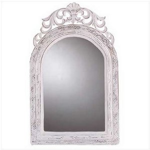 Arched-Top White Wood Wall Mirror