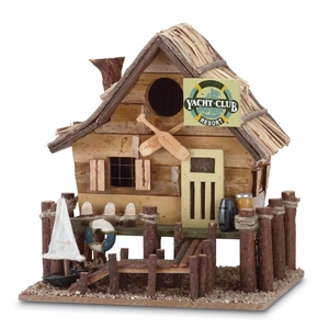 Yacht Club Brown Wood Birdhouse