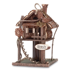 """Our Neck of the Woods"" Treehouse Brown Wood Birdhouse"