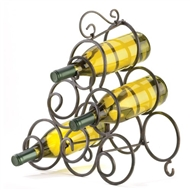 Wrought Iron Scrollwork 6-Bottle Wine Rack