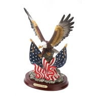 Unfurled Wings Patriotic Eagle on Wood Base