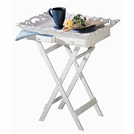 Elegant Folding White Wood Tray Stand