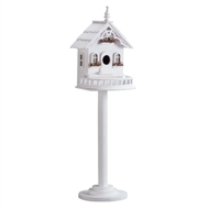 Freestanding Victorian White Wood Birdhouse
