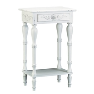 Carved White Wood 1-Drawer Side Table