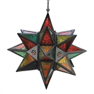 Moroccan Style Glass Star Candle Lantern