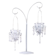 Dual Chandelier White Votive Candleholders w/Stand