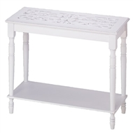 Intricately Carved White Wood Top Table