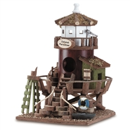 """Island Paradise"" Lifeguard Station Brown Wood Birdhouse"