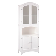 White Wood Linen Cabinet with Magnetic Close Doors