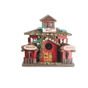 """Finch Valley Winery"" Red Wood Birdhouse"