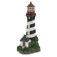 Solar White & Black Striped Lighthouse Garden Decor