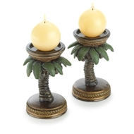 Coconut or Palm Tree Candle Holder 2PC