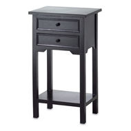 Black Wood 2-Drawers Side Table