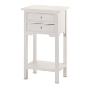 White Wood 2-Drawer Side Table