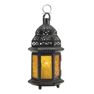Yellow Glass Black Metal Moroccan Style Candle Lantern