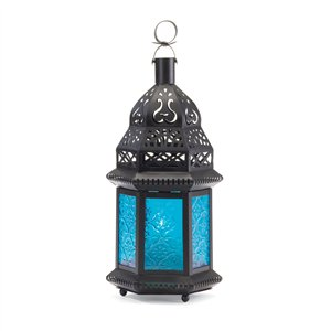 Blue Glass Black Metal Moroccan Style Candle Lantern