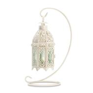 White Metal Fancy Candle Lantern with Stand