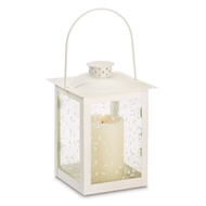 Curling Vine Large White Metal Glass Candle Lantern