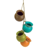 Set of 4 Dangling Mini Ceramic Cooking Pots Decor