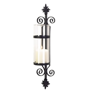 Tuscan Black Sconce w/ Clear Glass Cylinder Candle Holder