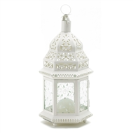 Medium White Metal Moroccan Candle Lantern