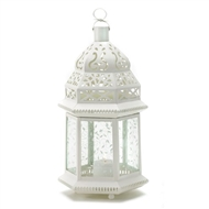 Large White Metal Moroccan Candle Lantern