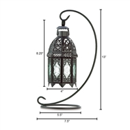 Black Moroccan Hanging Candle Lantern W/Stand