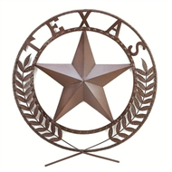 Texas Star Painted Metal Wreath Wall Plaque