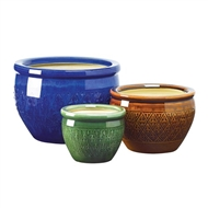 Embossed Jewel Tone 3pc Flower Pot Planter Set
