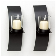 Mod Art Black Metal Wall Sconce Votive Candle Holder 1 pair
