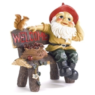 Garden Gnome on Bench Welcome Sign