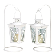 White Metal Railroad Candle Lanterns w/Stands 1 pair