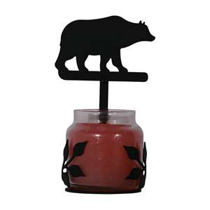 Bear Large Black Metal Candle Jar Sconce