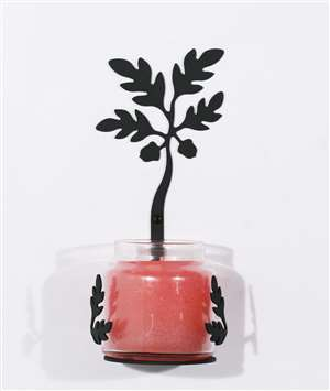 Acorn Large Black Metal Candle Jar Sconce