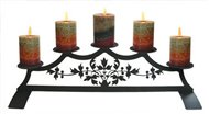 Victorian Fireplace Black Metal Pillar Candle Holder