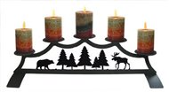 Moose Fireplace Black Metal Pillar Candle Holder