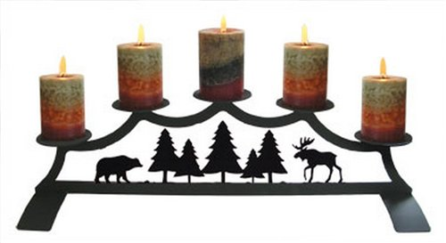 Miraculous Moose Fireplace Black Metal Pillar Candle Holder Best Image Libraries Thycampuscom