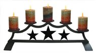 Star Fireplace Black Metal Pillar Candle Holder